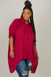 Plus Size Collar Button Down High-Low Top
