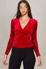 Long Sleeve V-Neck Suede Top