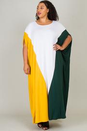 ROUND NECK COLOR BLOCK MAXI DRESS