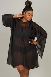 Round neck long sleeve lace and chiffon combo dress