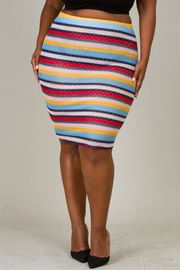 Plus size Colorful jacquard with dot foil skirt