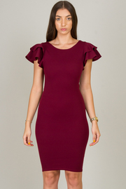 Ruffle Sleeve And Crisscross At The Back Knee Dress