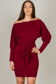Long Sleeve Off Shoulder Tie At The Waist Knee Dress
