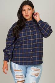 Plus Size Long Sleeve Flannel Top