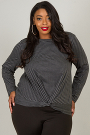 Plus Size Long Sleeve With Knot Accent At The Waist Top
