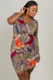Plus Size Ruched V-Neck Dress
