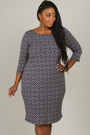 Plus Size Cree Neck Long Sleeve Dress