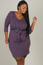 Plus Size 1/3 Sleeve Tie At The Waist Dress