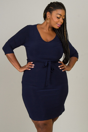 Plus Size V-Neck With Tie At Waist Dress
