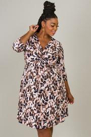 Plus Size 1/3 Sleeve V-Neck Dress