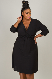 Plus Size V-Neck 3/4 Sleeve Dress