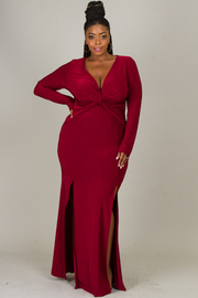 Plus Size Knot Accent At The Chest Long Dress