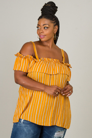 Plus Size Off The Shoulder Strap Ruffle Top