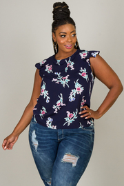 Plus Size Floral Sleeveless Top