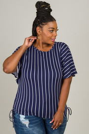 Plus Size Crew Neck Short Sleeve Ruched Top