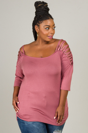 Plus Size Top With Crisscross Opening On Shoulder