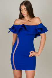 Off The Shoulder Ruffle Dress With See Through Accent On The Side