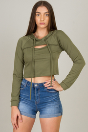 Hooded Long Sleeve Crop Top
