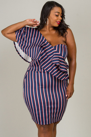 Plus Size T-Shoulder With Ruffle Dress