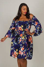 Plus Size Off The Shoulder Long Bell Sleeve Floral Dress