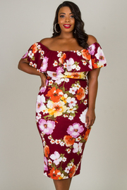 Plus Size Off The Shoulder Ruffle Dress