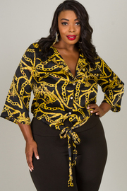 Plus Size Tie At The Waist Crop Chain Print Top