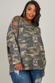 Plus size Camo Print Cold Shoulder Top