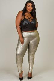 Plus size metallic leggings