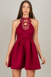 Lace Beads Neck Dress