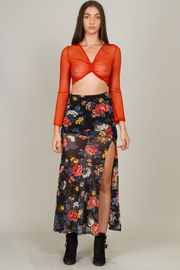 Chiffon Crop Top & Skirt Sets