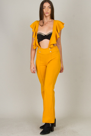 Ruffled Button Jumpsuit