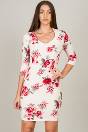 Jewel Neck Line Floral Mini Dress