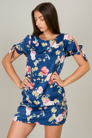 Slit Short Sleeve Floral Dress