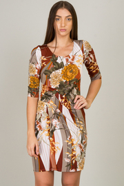 3/4 Sleeve Crew Neck Floral Mini Dress