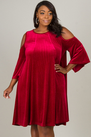 Plus Size Open Shoulder Corduroy Dress