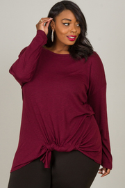 Plus Size Knotted Long Sleeve Top