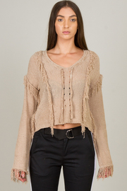 Fringed Sweater Top