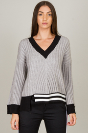 Striped V Neck Sweater Top