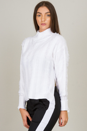 Mock Neck Side Slit Sweater
