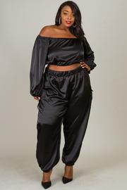 Plus Satin Off Shoulder Aladdin Pants Sets