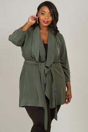 Plus Size Button Detail Sleeve Jacket