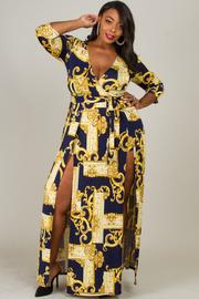Plus Size Double Slit Open Dress