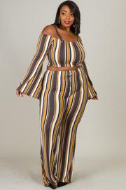 Plus Size Multi Color Stripe Sets