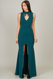 High Neck Long Dress With Detail On Front And Back