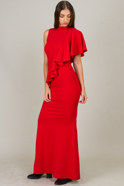 High Neck With Ruffle Sleeve Long Dress