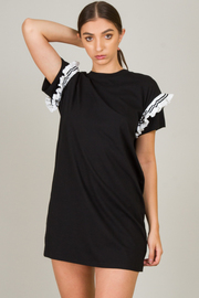 Mini T-Shirt Dress With Ruffle Sleeves