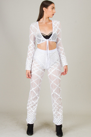 Two Piece Long Sleeve Crop Top and See Through Bottoms