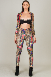 Two Piece Set Of Legging and Crop Cardigan