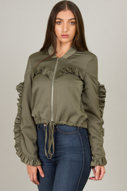 Ruffled Zipped Up Crop Jacket