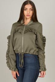 Ruffled Zipped Up Crop Jacket